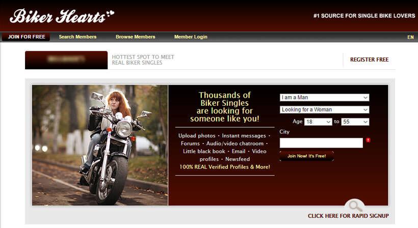 biker hearts homepage