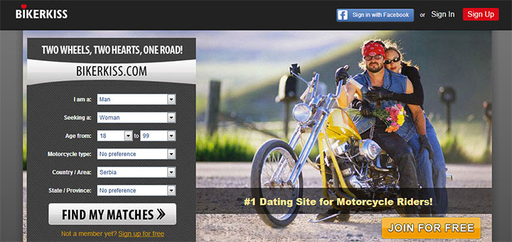 BikerKiss homepage printscreen
